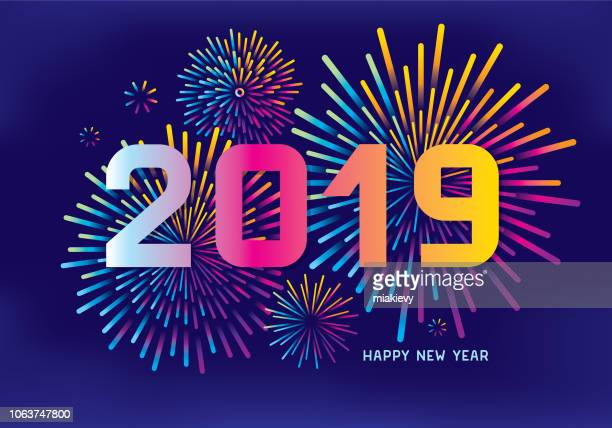 new year fireworks - greeting stock illustrations