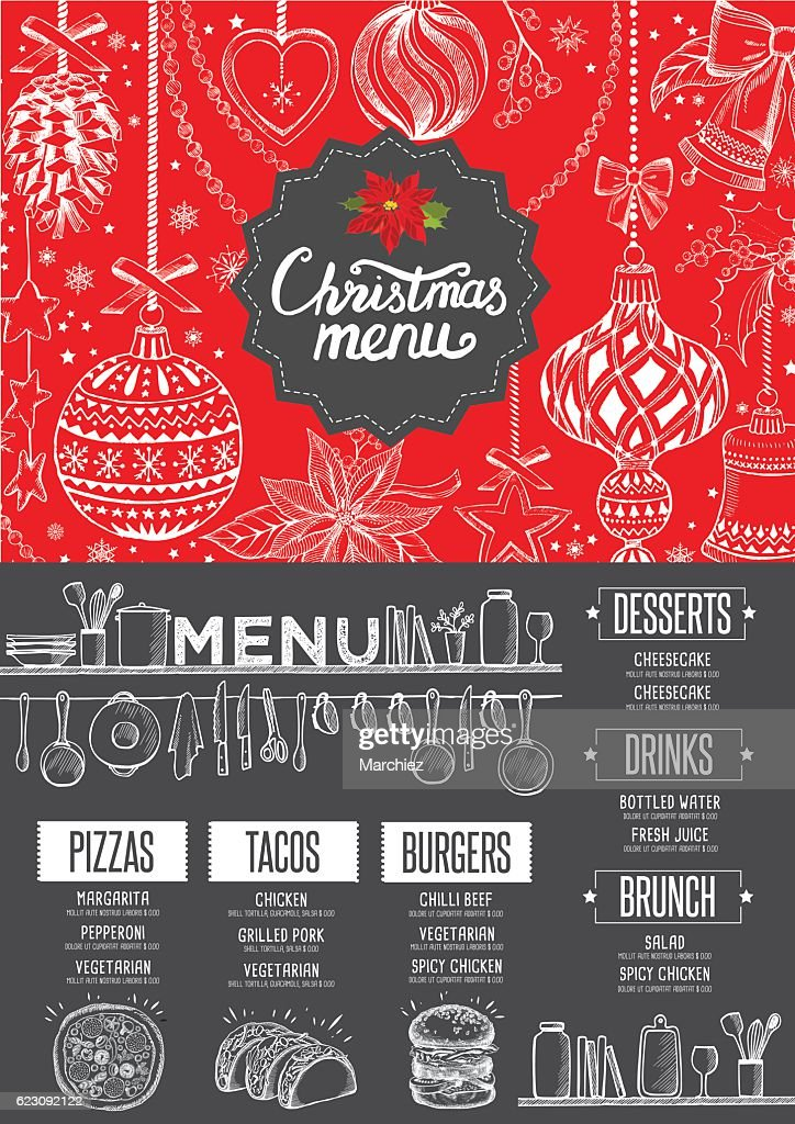 new year food menu restaurant christmas party invitation vector art