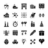 New Year Glyph Vector Icons
