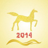 New year gold horse silhouette