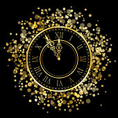 new year gold shiny clock