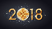 2018 New Year greeting card of glittering confetti glitter on premium black background. Vector Christmas or New Year winter holiday design template
