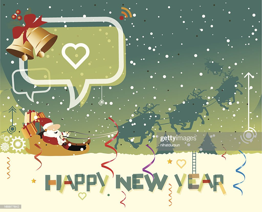 New Year Greeting Card Vector Art Getty Images