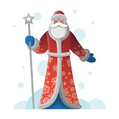 New Year greeting card with cartoon Father Frost