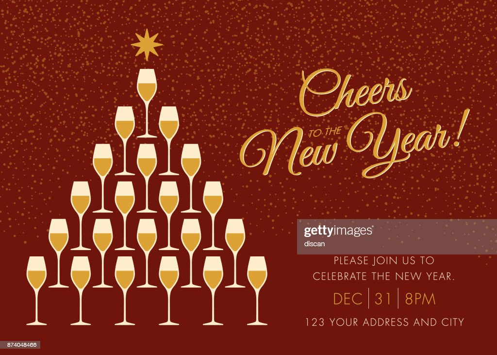 new year greeting card with champagne and cheers vector art