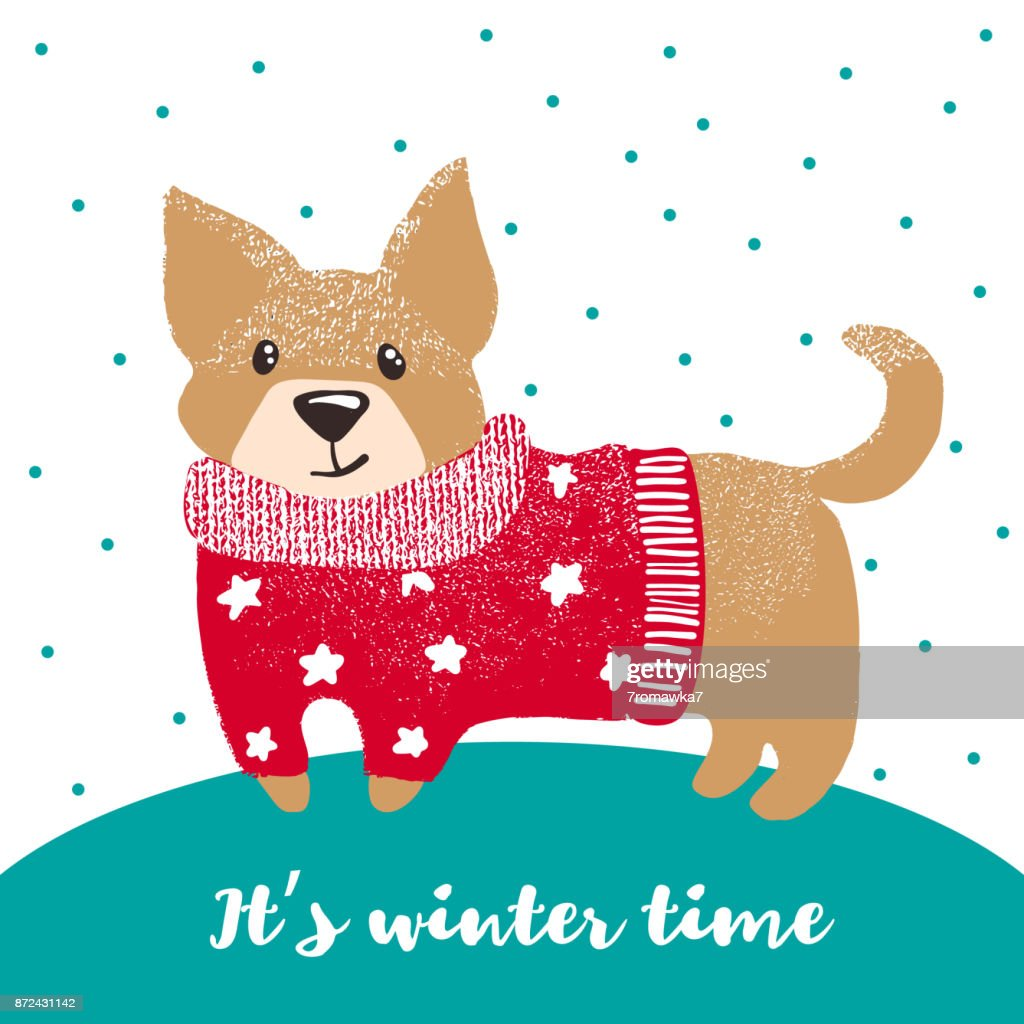 New year greeting card with cute dog.