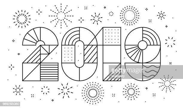 illustrations, cliparts, dessins animés et icônes de carte de voeux de nouvel an 2019 avec feux d'artifice - simplicité
