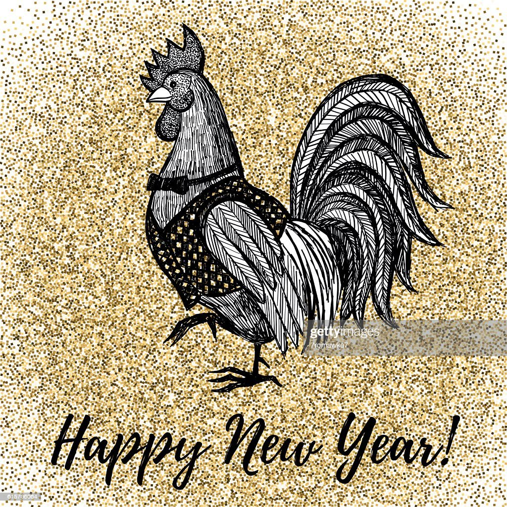 New Year greeting card with Rooster.