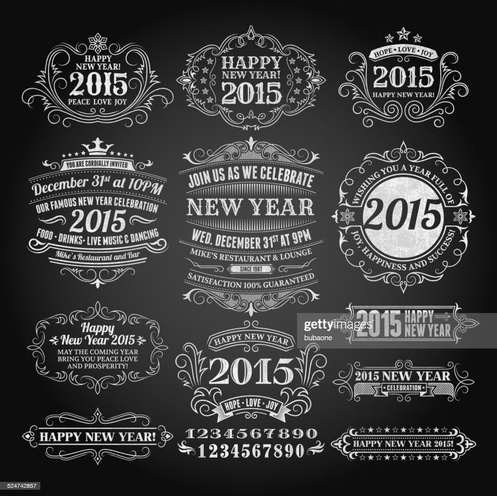New Year Greeting Cards On Royalty Free Vector Chalkboard Background