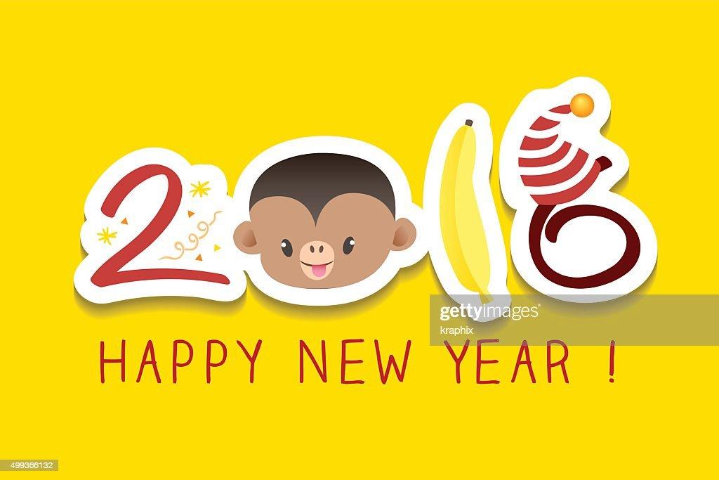 2016 Neues Jahr Gruß Monkey Zodiacsymbol Illustrationen Vektorgrafik ...