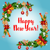 New Year holiday garland frame