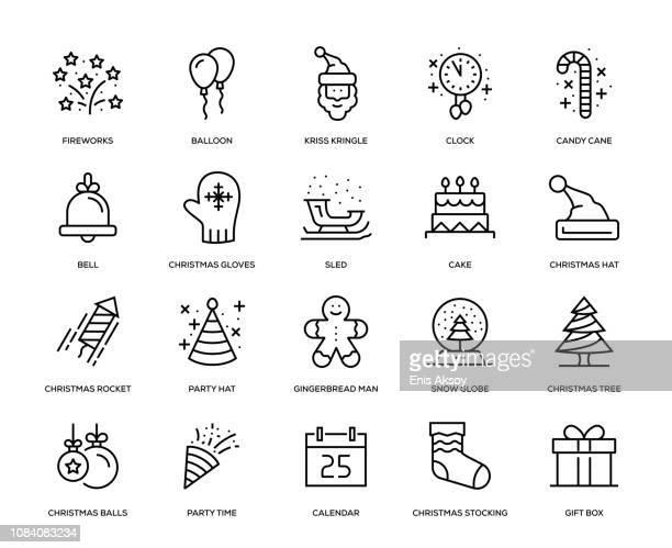 ilustraciones, imágenes clip art, dibujos animados e iconos de stock de conjunto de iconos de año nuevo - galletas navidad
