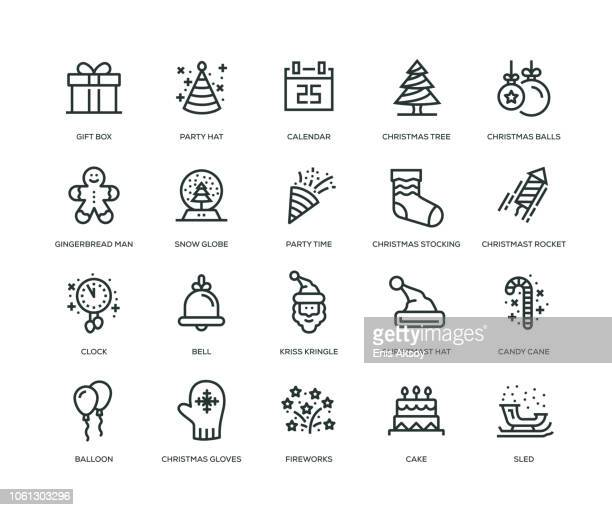 new year icons - line series - gingerbread man stock illustrations