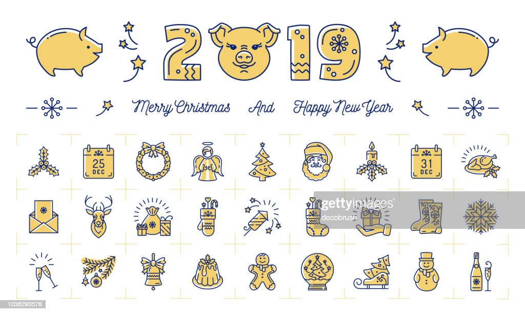 New Year icons, Pig icons and 2019 year number, Modern Christmas symbols. Thin line art design, Vector illustration