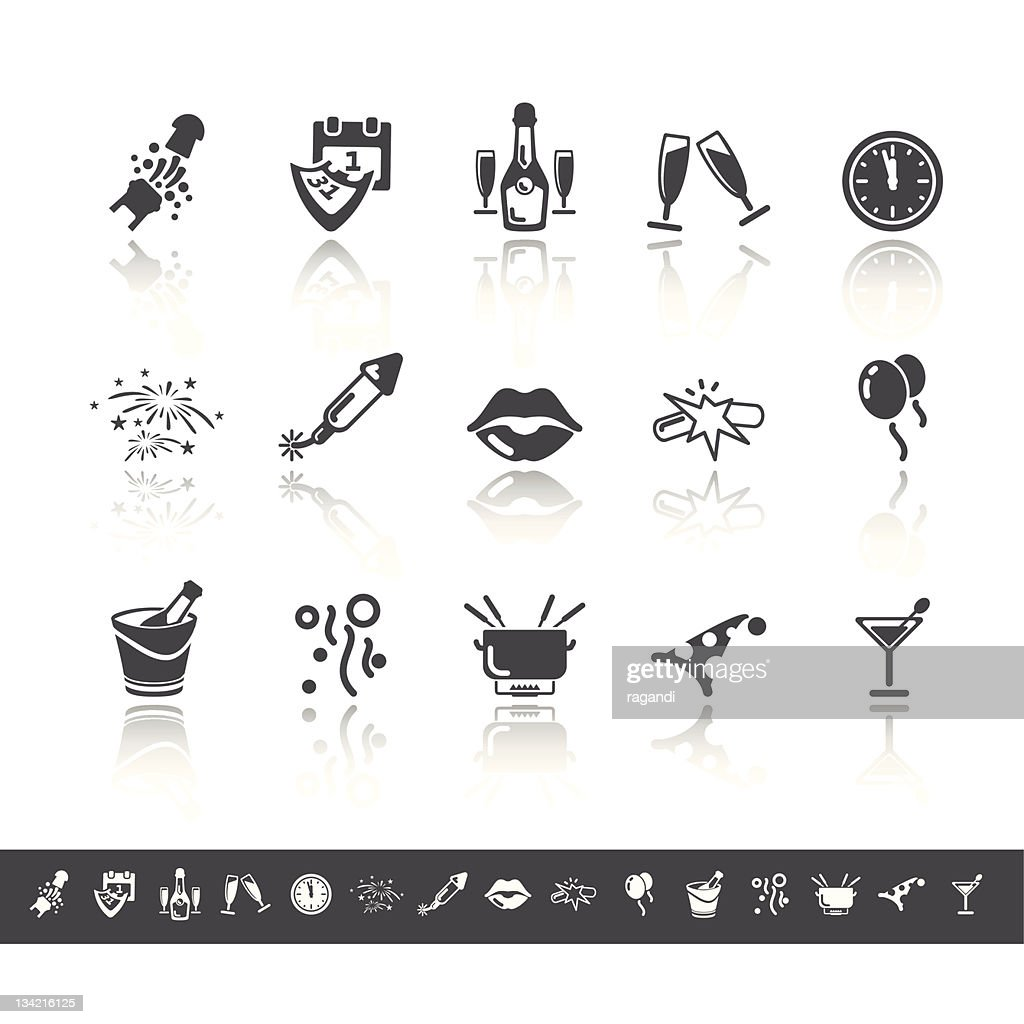 New Year Icons | Simple Grey