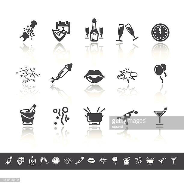new year icons | simple grey - lipstick kiss stock illustrations, clip art, cartoons, & icons