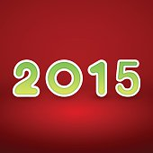 New Year image on red background with green figur