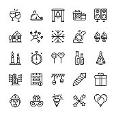 New Year Line Vector Icons