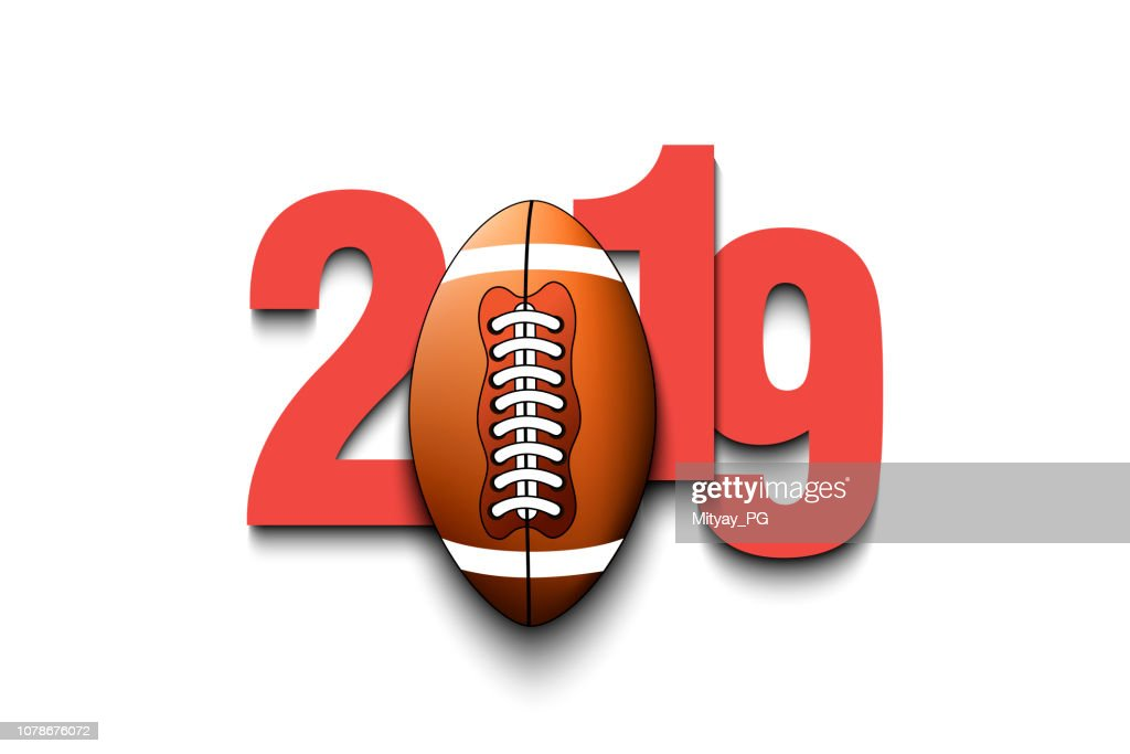 New Year numbers 2019 and football ball