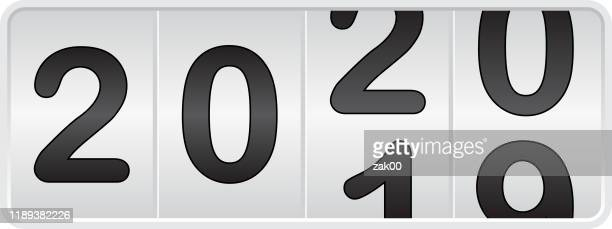 2020. new year odometer - 2019 2020 calendar stock illustrations