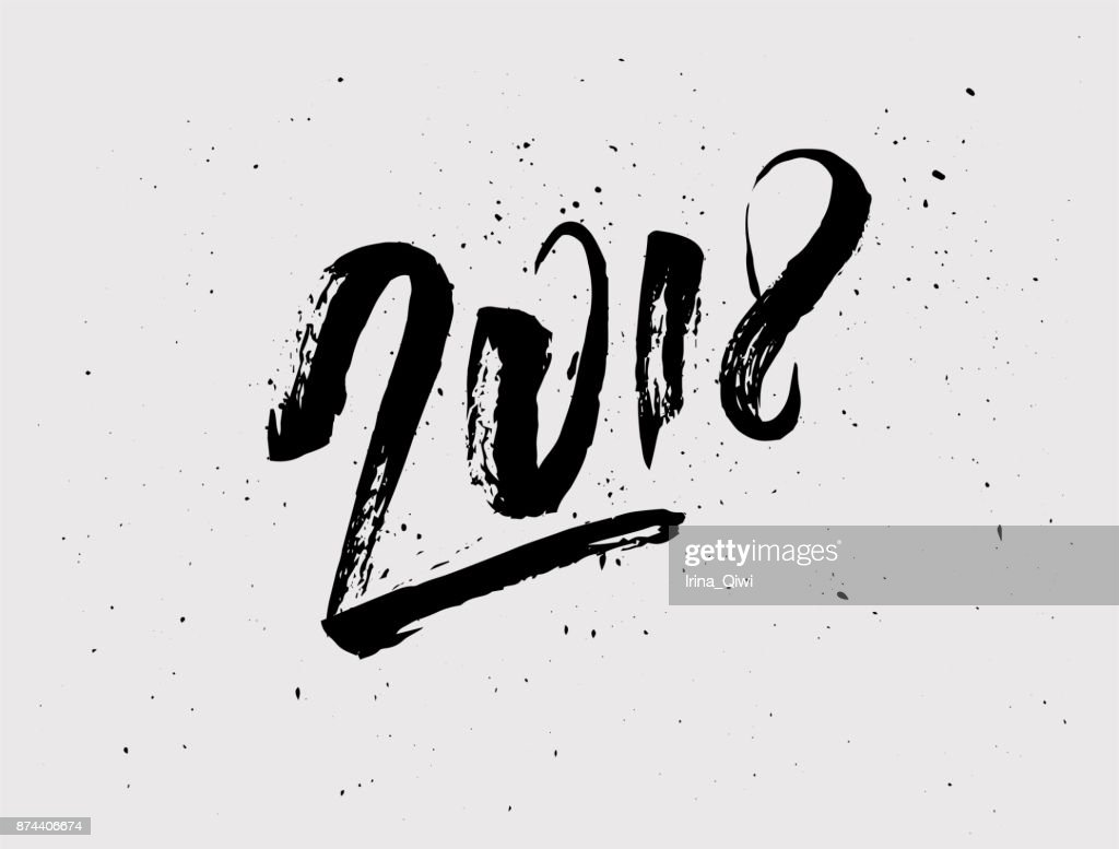 2018 New Year of the Dog handwritten lettering typography.