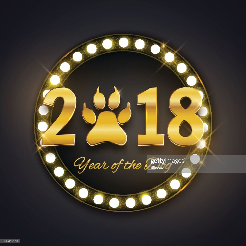 new year of the dog holiday postcard with paw footprint gold text vector illustration
