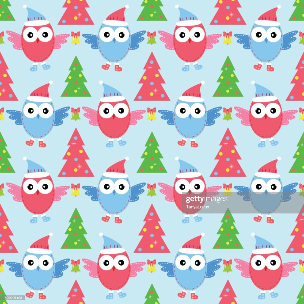 new year owl seamless pattern vector art