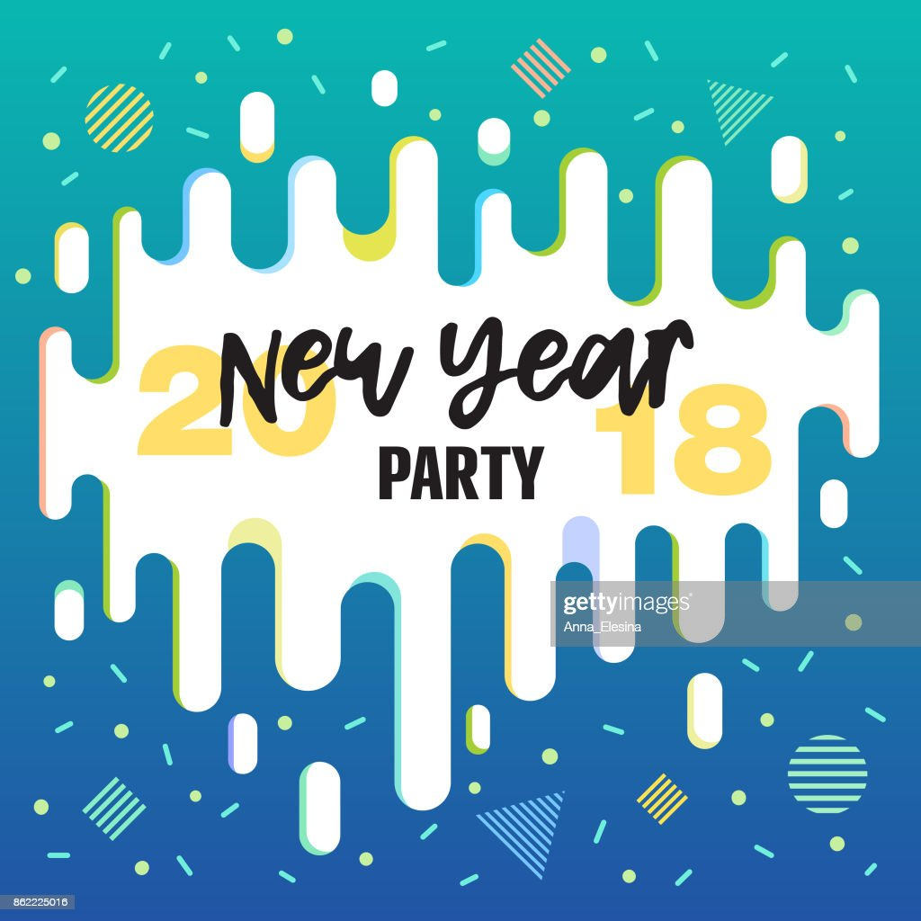 new year party 2018 invitation banners in flat style with bright colors gradient and geometric