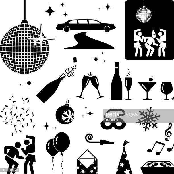 ilustraciones, imágenes clip art, dibujos animados e iconos de stock de fiesta de año nuevo blanco y negro vector icono conjunto - baile moderno