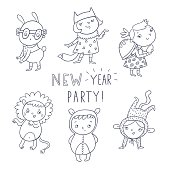 New year party. Children's masquerade vector set