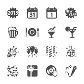 new year party icon set 4, vector eps10