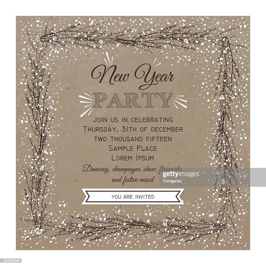New Year Party Invitation Card Vector Art | Getty Images