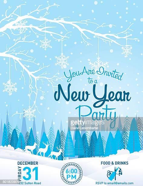 Invitation à la fête du Nouvel An paysage d'hiver