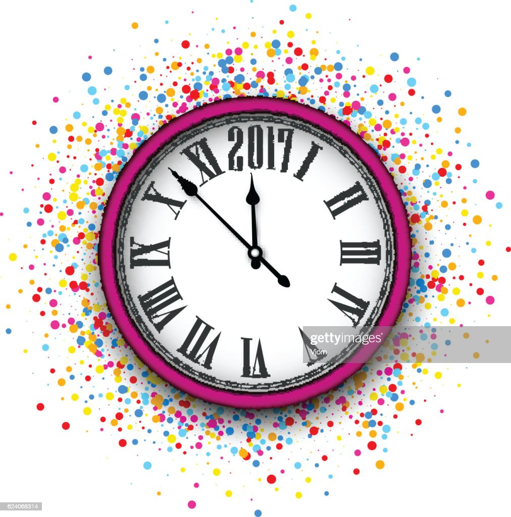 2017 new year pink clock background vector art