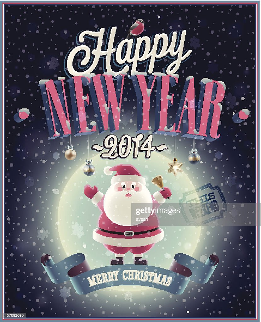 New Year Poster with Santa.