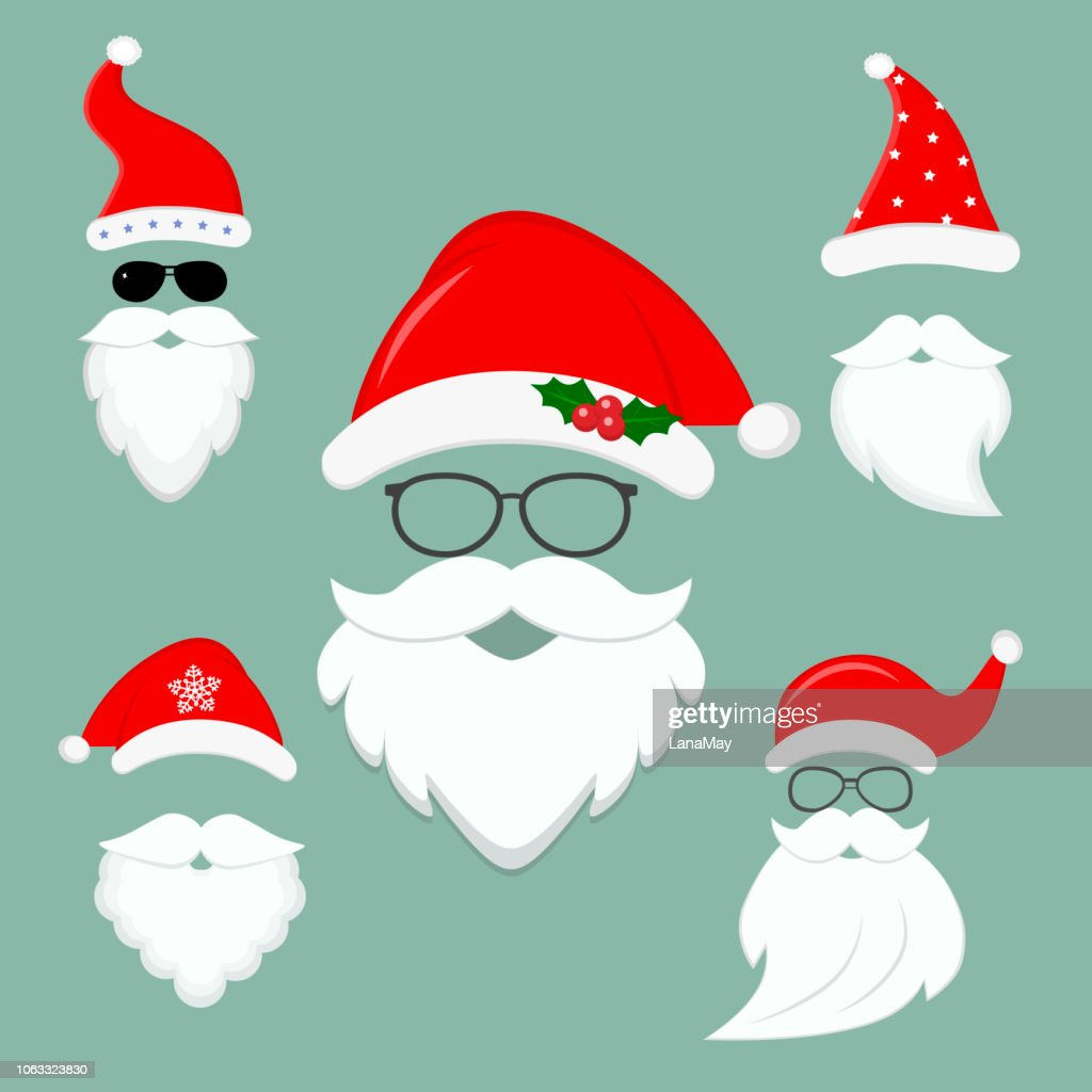 New Year s collection of clothes Santa hats, beards and glasses. Christmas elements for the celebration, face masks. Flat style, vector