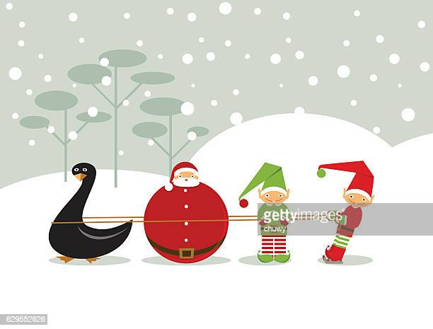 New year santa duck elf christmas greeting card