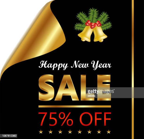 new year seventy five percent sale on golden black curled luxury paper - number 75 stock illustrations, clip art, cartoons, & icons