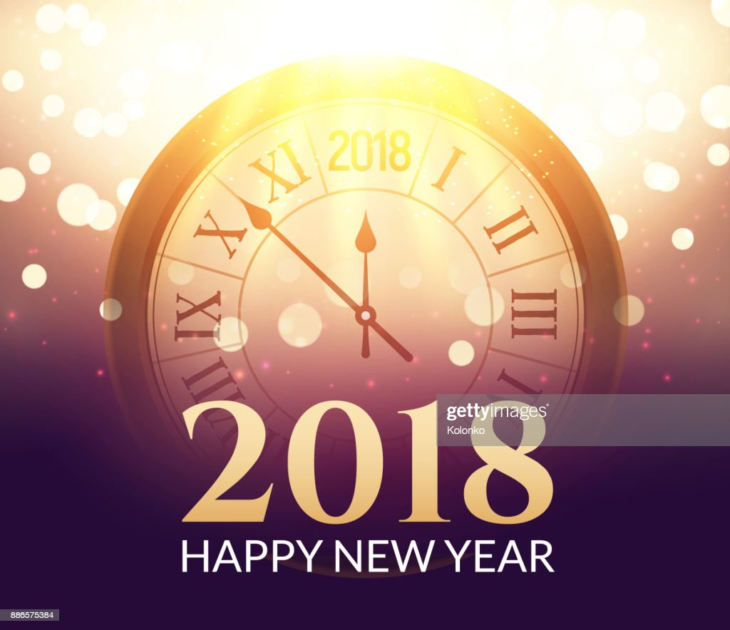 2018 new year shining background with clock happy new year 2018 celebration decoration poster festive card template
