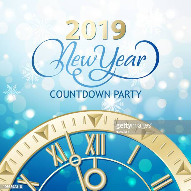 2019 new year snowy countdown party - blink stock illustrations, clip art, cartoons, & icons