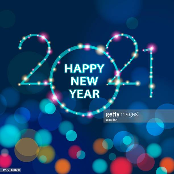2021 new year sparkling lights - new year's eve stock illustrations