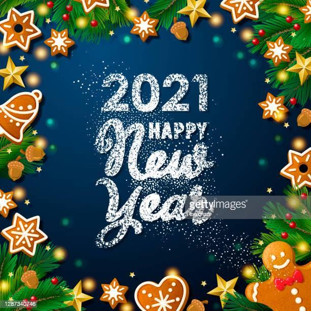 2021 neujahr zuckerpulver cookies - farbpulver stock-grafiken, -clipart, -cartoons und -symbole