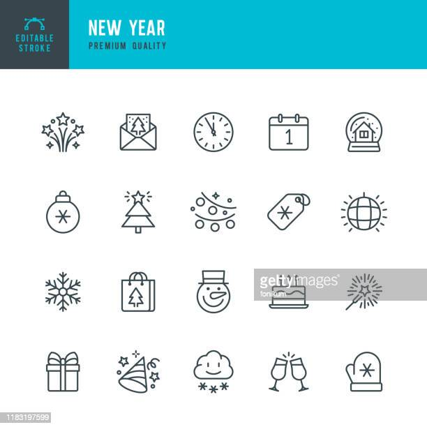 ilustrações de stock, clip art, desenhos animados e ícones de new year - thin line vector icon set. editable stroke. pixel perfect. set contains such icons as new year, winter, gift, christmas tree, christmas, snowflake, calendar, sparklers, clock. - fogosdeartificio