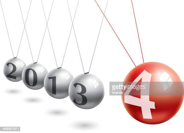 bildbanksillustrationer, clip art samt tecknat material och ikoner med new year (2014) - newtons pendel