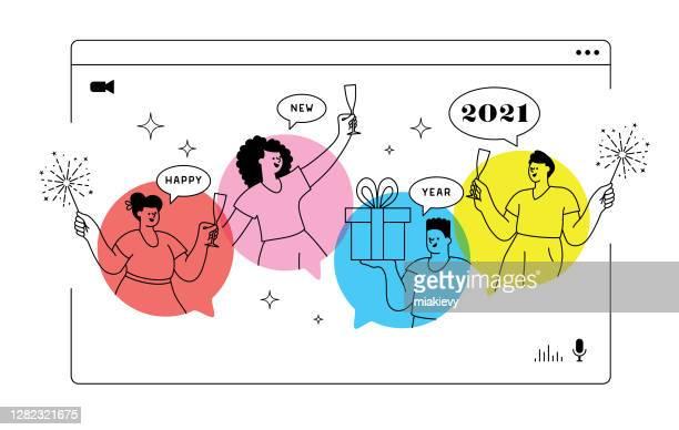 neue jahr virtuelle partei 2021 - party stock-grafiken, -clipart, -cartoons und -symbole