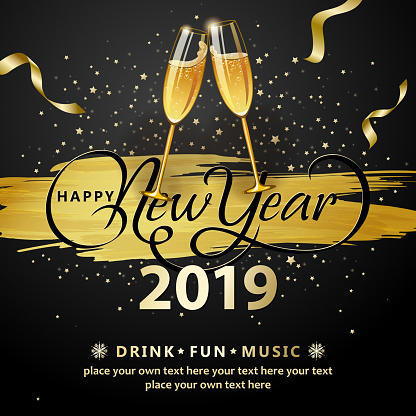 2019 New Year Wine Glasses Toasting - gettyimageskorea