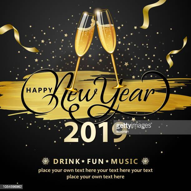 stockillustraties, clipart, cartoons en iconen met 2019 nieuwjaar wijn glazen roosteren - nieuwjaar