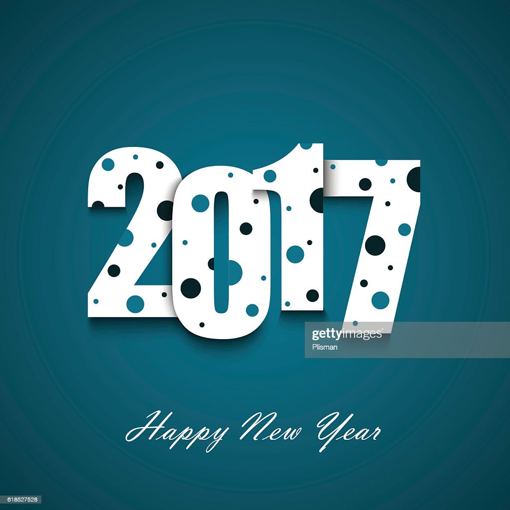 New Year wishes with circles on an blue background