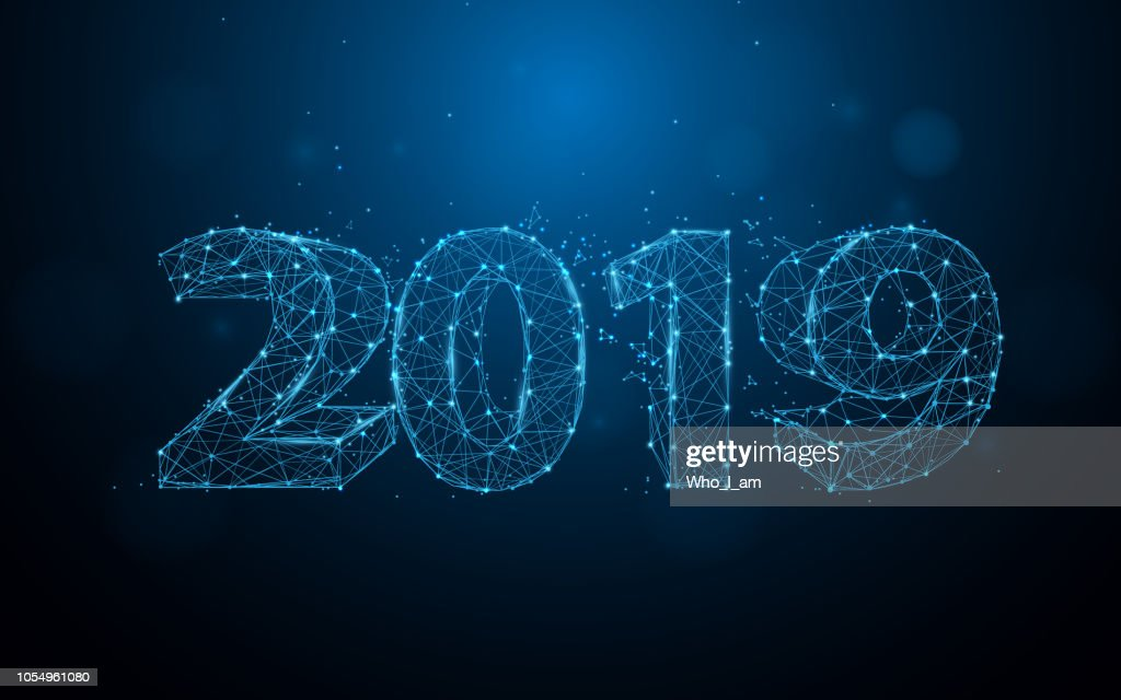 New years 2019 form lines, triangles and particle style design. Illustration vector : Stock Illustration
