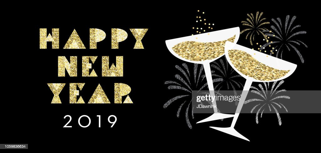 new years 2019 greeting card design banner with champagne glasses vector art
